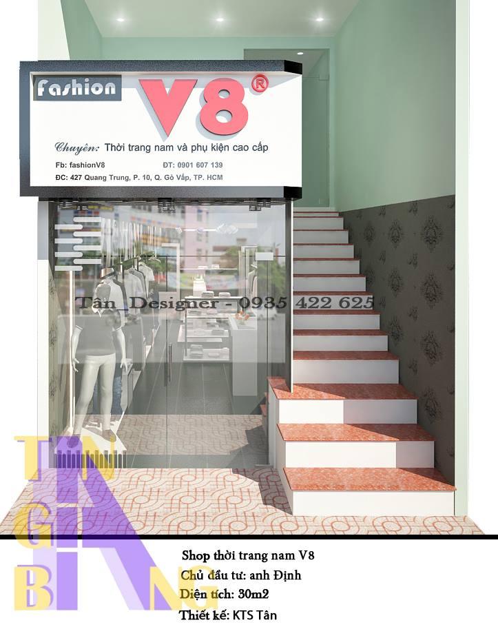 thiết kế và thi công trọn gói shop thời trang V8