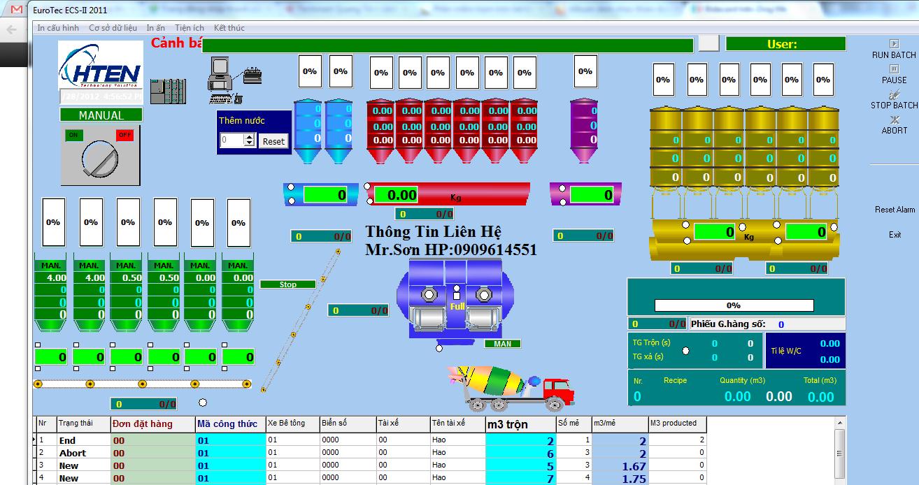 Nâng cấp phần mềm quản lý trạm trộn bê tông