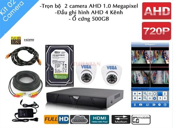 Trọn bộ 2 Camera AHD Vega - Đầu ghi hình AHD 4 Kênh