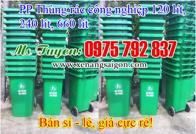 Thùng rác công nghiệp 120 lít nhựa HDPE