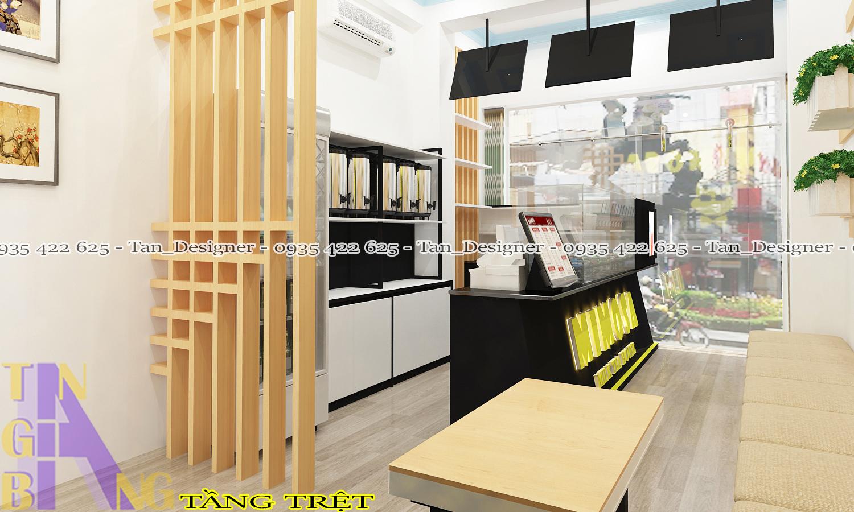 Thiết kế nội thất quán trà sữa Mimosa - Chi nhánh Gò Vấp