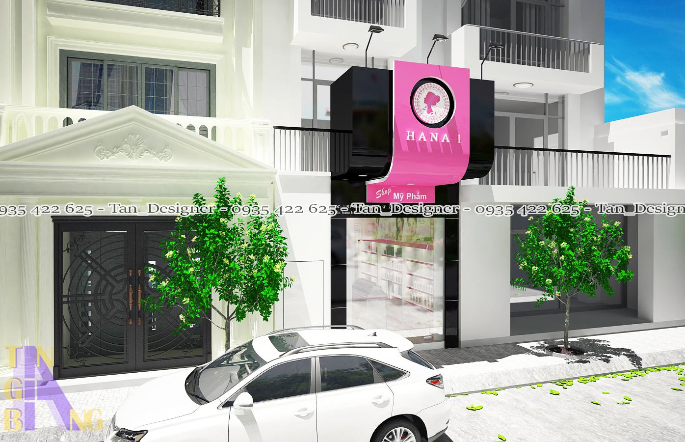 Thiết kế, thi công nội thất shop mỹ phẩm HANA 1