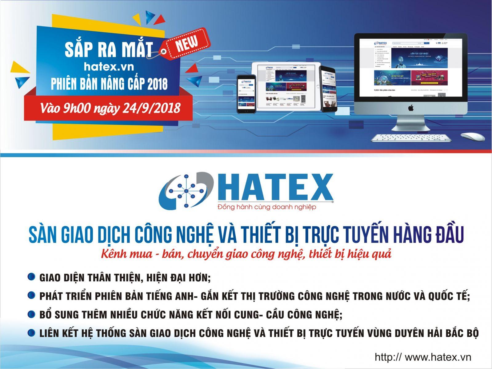 Chính thức ra mắt Sàn giao dịch công nghệ và thiết bị trực tuyến Hatex.vn phiên bản nâng cấp 2018